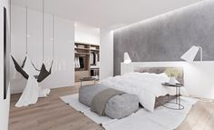 'Minimal Interior Design Inspiration' is a biweekly showcase of some of the most perfectly minimal interior design examples that we've found around the web - White Bedroom Design, White Bedroom Decor, White Bedroom Furniture, Home Bedroom, White Bedrooms, Gray Bedroom, Bedside Lamps For Master Bedroom, Bedroom Designs, Bedroom Simple