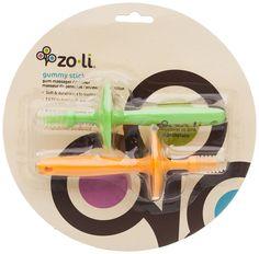 ZoLi Gummy Set of 2 Stick Gum Massager, Green/Orange