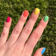Grace-full Nail Polish Fruit Salad Collection rainbow nails – Polish and Paws cr… Rainbow Nails, Neon Nails, My Nails, Nails Polish, Nail Polish Colors, Shellac Nails, Nail Nail, Cute Nails, Pretty Nails