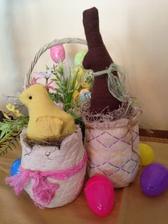 Primitive Easter Chick and Bunny in Cracked by JoysHomeTreasures