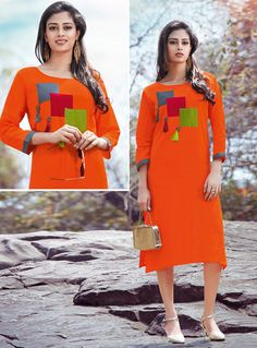 Buy Orange Cotton Readymade Kurti 126648 online at lowest price from our mens indo western collection at m.indianclothstore.c. Stylish Dresses For Girls, Frocks For Girls, Simple Dresses, Kurti Patterns, Dress Patterns, Kurti Neck Designs, Blouse Designs, Kurtha Designs, Frock Design