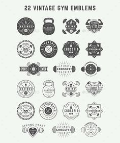 Buy Vintage Gym Emblems by Akim_D on GraphicRiver. Set of vintage gym logos, badges, emblems and design elements Can be used for logo design, badge design, shop sign an. Gym Design, Badge Design, Logo Design, Graphic Design, Crossfit Logo, Gym Logo, Granada, Gyms Near Me, Badge Template