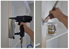 brad nailer and primer.  The vertical pine trim was easily attached with a nail gun then primed with Zinsser (I always use oil based primer on raw wood.) I used paintable caulk to fill in any gaps between the baseboard, crown, and bookcase edges. Two coats of paint unified the vertical trim, baseboard, and crown.*