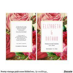 Pretty vintage pink roses folded wedding program