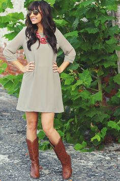 Loving You Is Fun Dress: Light Grey