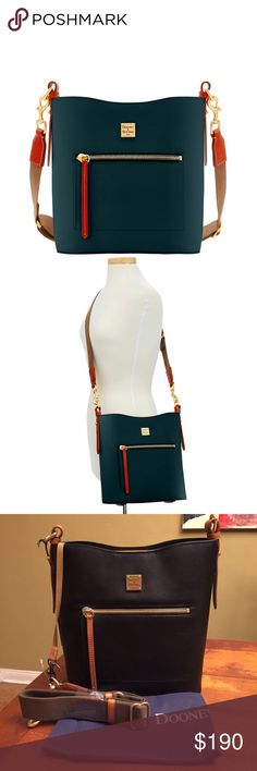 """Dooney & Bourke Raleigh Roxy Bag Made of fine-grained Italian Calfskin, it is trimmed with gold tone hardware and lined with soft leather. A wide adjustable shoulder strap of heavy-duty twill provides maximum comfort and an outside zipper pocket keeps essential close at hand. The spacious interior includes 4 large pockets and a magnetic center top closure. Measurement H 11.5"""" x W 5.75"""" x L 10.25""""; outside zip pocket, 2 inside zip pockets. Inside key hook! Shoulder Strap Drop 19"""" Dooney…"""
