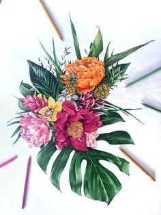 Flower art, drawing, sketch, tropical flat lay, pencil artist, Australian Drawing Sketches, Drawings, Painted Jeans, Garden Projects, Flower Art, Goodies, Tropical, Flower Arrangement, Fruit