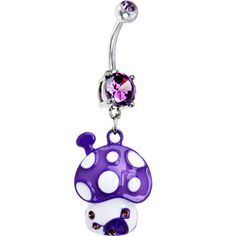 $9.99 Purple Cubic Zirconia Polka Dot Mushroom Belly Ring #piercing #bodymodification #bellyring #mushroom