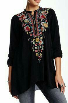 Black embroidered tunic