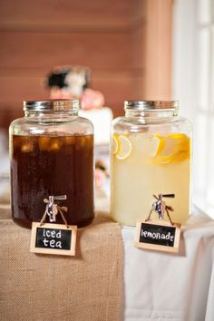 tea and lemonade jars Amber and Trevor's Antique Shop Barn Wedding by Rennard Photography