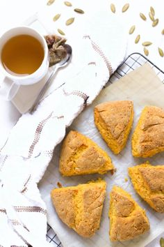 Crumbly, moist gluten-free pumpkin scones that are just the hint of sweet with the distinct taste of pumpkin.