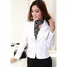 Stylish Solid Color Lapel Neck Long Sleeves Button Embellished Slimming Fit Blazers With Scarf For Women
