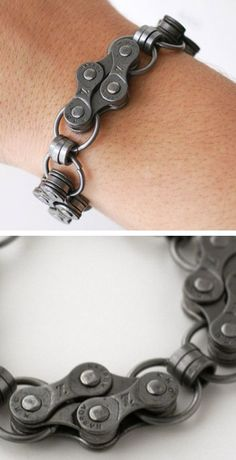 From a bracelet made out of bike chain parts to a zipper jewelry bracelet, check out 15 of the most bizarre bracelets. Recycled Bike Parts, Bike Craft, Bike Chain Bracelet, Zipper Jewelry, Bicycle Art, Bijoux Diy, Wire Wrapped Jewelry, Bracelets For Men, Jewelery