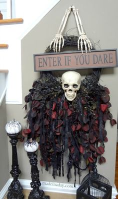 Create #spookyspaces with this skull wreath from @Kim {Made in a Day}