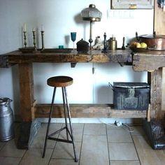 Vintage handmade unique bar stool chair reclaimed materials