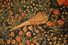 quail in woven tapestry