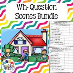 This resource contains a variety of different wh- question scenes. Each scene comes accompanied with 2 question pages in 2 different levels to differentiate for individual learners. The question/recording cards also come with space to record two different