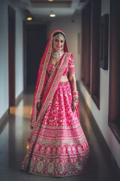Be A Stunner By Selecting Designer Bridal Lehenga For Your Special day – Fashion Industry Network Indian Bridal Outfits, Indian Bridal Fashion, Indian Bridal Wear, Indian Dresses, Bride Indian, Designer Bridal Lehenga, Pink Bridal Lehenga, Pink Lehenga, Bridal Gown