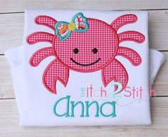 Machine Applique and Embroidery designs. You MUST have an Embroidery Machine to use these designs. Due to the electronic nature of the design NO REFUNDS will be given. You will receive your download link for designs via email in about 5 minutes Design Name: Girly Crab (One Thing Font NOT included) Design Hoop size(s): 4x4, 5x7, and 6x10 Formats Included: ART, DST, EXP, HUS, JEF, PEC, PES, SEW, SHV, VIP, VP3, XXX These designs are NOT to be altered, edited or converted in any way. There is…