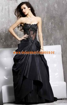 Ballkleid Strapless Sweep Zug Taft Abendkleid