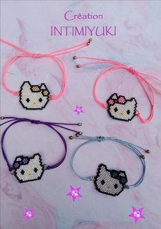 Handmade Gifts For Kids Children Beaded Jewelry Patterns, Beading Patterns, Bracelet Crafts, Jewelry Crafts, Kids Bracelets, Beaded Bracelets, Chat Hello Kitty, Seed Bead Crafts, Beaded Animals