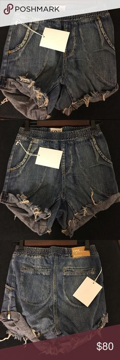 Denim Drop Waist Shorts by One Teaspoon Low elastic waist slouch fit shorts. Raw double turned twisted and tapered cuff. Slim fit at hip. Two side and two back pockets. Size S. One Teaspoon Shorts Jean Shorts