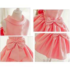 Girly Shop's Light Pink Round Neck Folds Big Bow Back Sleeveless Knee length Flower Girl Ruffle Dress