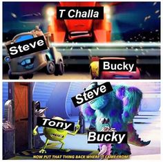 The fact that Steve is Mater in the first pic and looks like a dork just makes this post even better and that Bucky is Boo! I can't even anymore this fandome is to good to be true<winter BOO bear Marvel Actors, Marvel Funny, Marvel Memes, Marvel Characters, Marvel Avengers, Marvel Comics, Johnlock, Destiel, I Understood That Reference