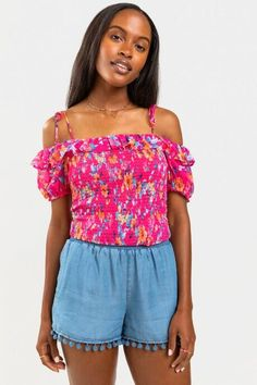 Dianne Smocked Off the Shoulder Blouse - Pink Off Shoulder Blouse, Off The Shoulder, Summer Wardrobe, Cute Tops, Smocking, Clothing Styles, Fashion Outfits, Pink, Stuff To Buy