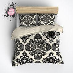 Diamond Black and Cream Skull Bedding