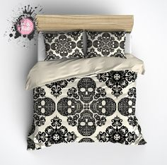 Diamond Black and Cream Skull Bedding