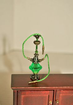 Dollhouse Miniature Hippie Hookah, Green and Antique Brass 1960s Hippie Decor, Miniature Handmade Hookah
