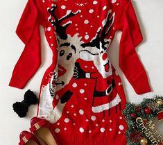 Rochie ieftina din tricot rosie cu model haios de Craciun cu Rudolf si Mosul