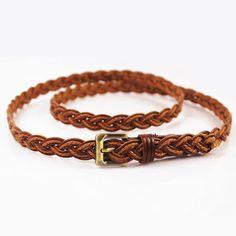 Cowhide twist braided  belt Casual Belt, Braided Belt, Twist Braids, Belts For Women, Brown, Bracelets, Leather, Jewelry, Style
