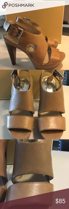 Taupe Michael Kors heels Taupe Size 9 Leather heels! Like new condition MICHAEL Michael Kors Shoes Heels