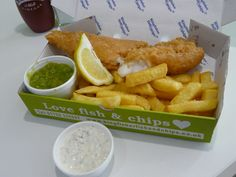 Ocean Wild Sustainable Fish, Fresh cut Chips, Fresh made Mush Peas and home made Tartare Sauce Delicious. #fishandchips