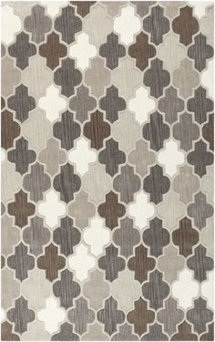 Great pattern in warm gray palette, from the Oasis collection. 100% wool rug by Surya (OAS-1088)