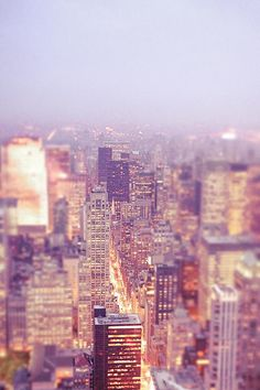 A beautiful view of the skyscrapers and rooftops of the New York City skyline at dusk looking towards Central Park in the distance. Vivienne Gucwa. NYC skyline