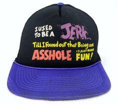 Vintage 80s Funny Sayings Jerk Jack Ass Snap Back by BeyondLeaf @etsy @ebay @etsymeetntweet #etsy #jerk #asshole #snapbackhat #truckershat #meshback #trucks #rig #ass #ebay #sellmycloset #buyme