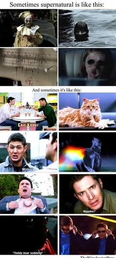 seriously though supernatural is a pretty gory show Castiel, Supernatural Destiel, Supernatural Bloopers, Supernatural Tattoo, Supernatural Imagines, Supernatural Wallpaper, Supernatural Funny Moments, Sam Winchester, Jared Padalecki