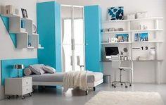Habitacion adolescente azul cian