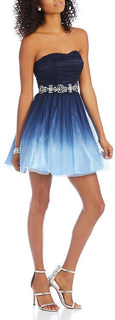 B. Darlin Strapless Ombre Party Dress