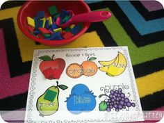 Cooking Up a Great Year! {back to school centers} Scoop & Sort- have your students scoop up tiny manipulatives {pom poms, unifix cubes, buttons, etc.} and sort them on the color mat