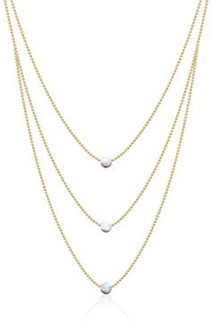 "50% OFF SALE PRICE - $24.97 - Benevolence LA The ""Inspire"" White Opal 14k Gold Choker Chain  Necklace (1mm), 14"""