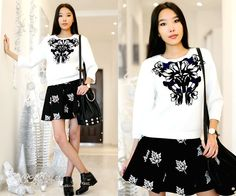 Aibina  Yeshkeyeva - Choies Sweatshirt, Chic Wish Skirt - THE PATTERNS ON THE SWEATSHIRT