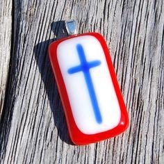 Remembering - Patriotic Pendant Fused Glass Cross Pendant by FirstLightGlass Fused Glass Jewelry, Glass Pendants, Project Ideas, Projects, Cross Pendant, Crosses, Mosaics, School Stuff, Glass Art