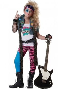 Become a mini rock chick in this awesome girls rocker costume!  Shop this costume on our website  http://www.heavencostumes.com.au/80-s-glam-rocker-girls-retro-costume.html