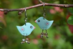 Turquoise Blue Stainless Steel Dangle Bird Earrings by #CinkyLinky. Enjoy more whimsical quirky fun jewelry in our Etsy shop.