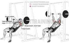 Smith machine incline bench press exercise instructions and video Best Chest Workout, Chest Workouts, Chest Exercises, Weight Training Programs, Weight Training Workouts, Training Exercises, Kettlebell Training, Body Training, Free Training