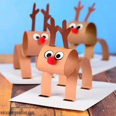 Raise your hand if you love reindeer crafts! We've got an extremely fun one for you, let's make a construction paper reindeer craft together! Super fun Christmas crafts to do with kids! Christmas Paper Crafts, Christmas Activities, Kids Christmas, Holiday Crafts, Reindeer Christmas, Christmas Decorations With Kids, Christmas Crafts For Kids To Make At School, Christmas Cards, 3d Christmas Tree